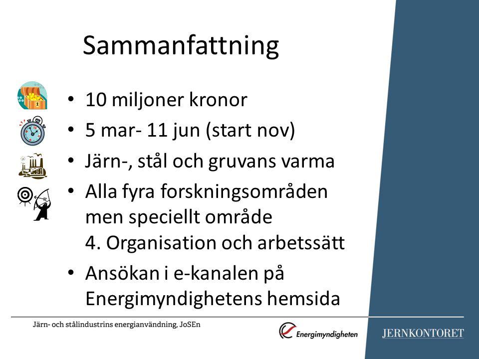 Sammanfattning 10 miljoner kronor 5 mar- 11 jun (start nov)