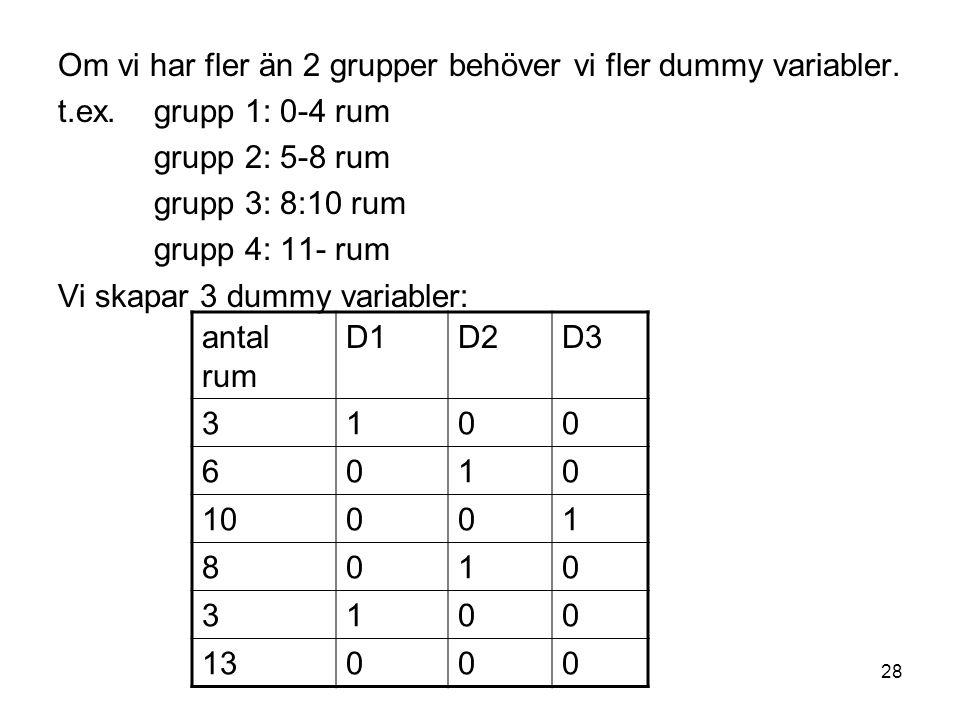 Om vi har fler än 2 grupper behöver vi fler dummy variabler.