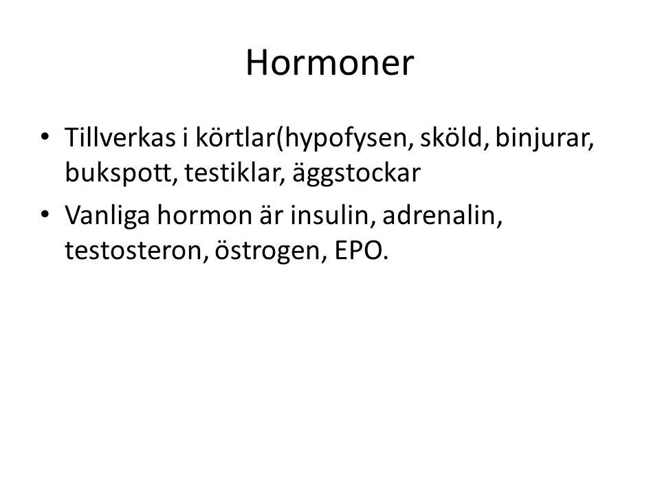 Hormoner Tillverkas i körtlar(hypofysen, sköld, binjurar, bukspott, testiklar, äggstockar.