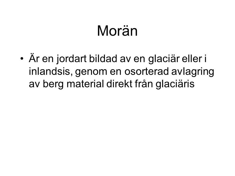 Morän Är en jordart bildad av en glaciär eller i inlandsis, genom en osorterad avlagring av berg material direkt från glaciäris.