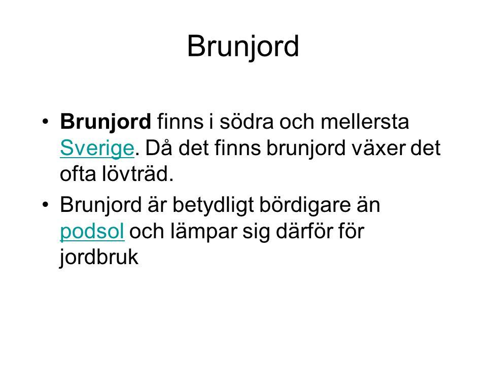Brunjord Brunjord finns i södra och mellersta Sverige. Då det finns brunjord växer det ofta lövträd.