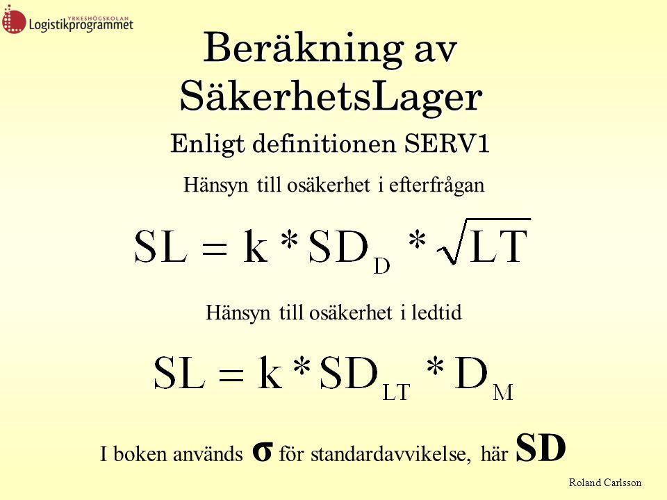 Beräkning av SäkerhetsLager Enligt definitionen SERV1