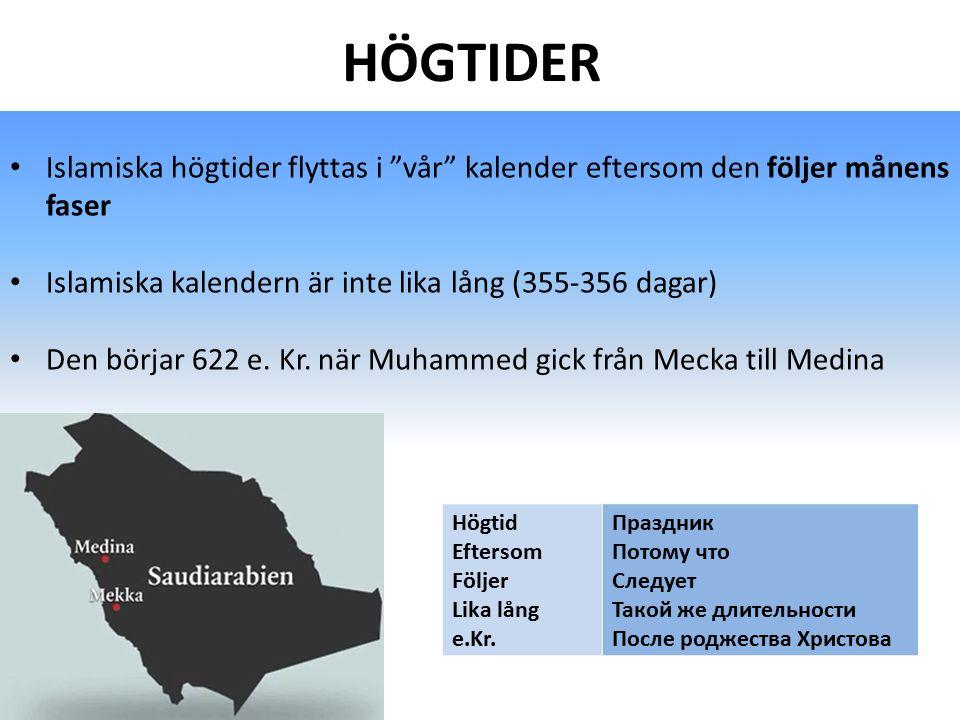 HÖGTIDER Islamiska högtider flyttas i vår kalender eftersom den följer månens faser. Islamiska kalendern är inte lika lång (355-356 dagar)