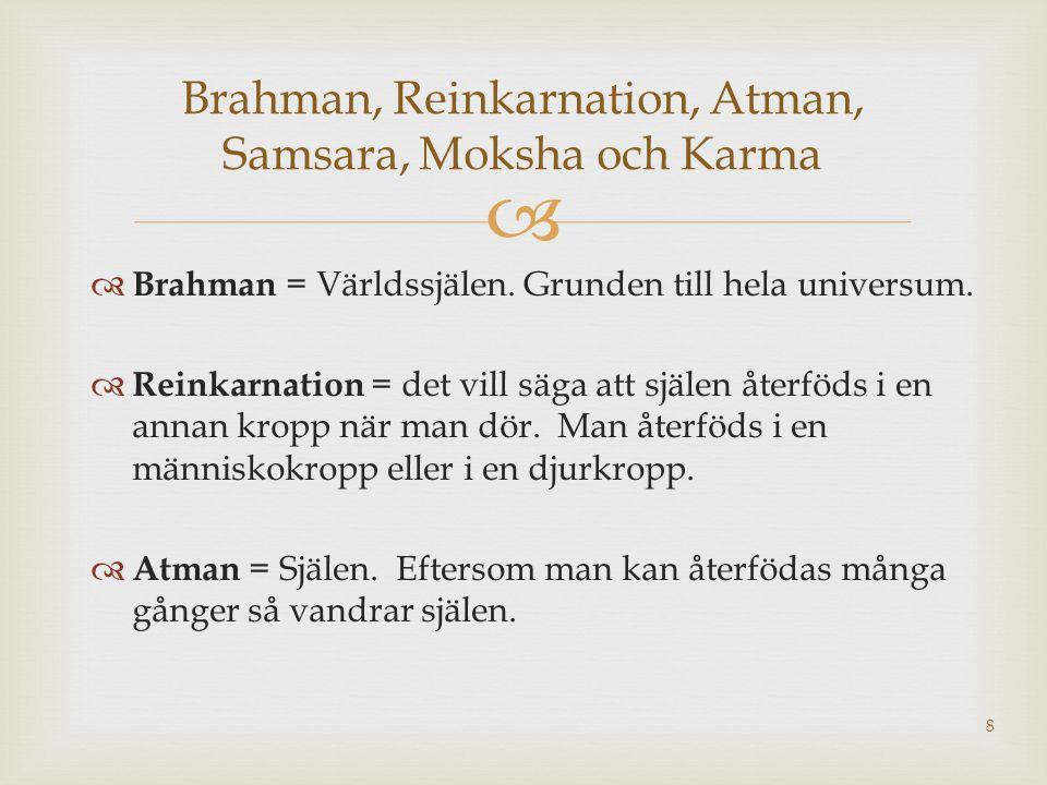 Brahman, Reinkarnation, Atman, Samsara, Moksha och Karma