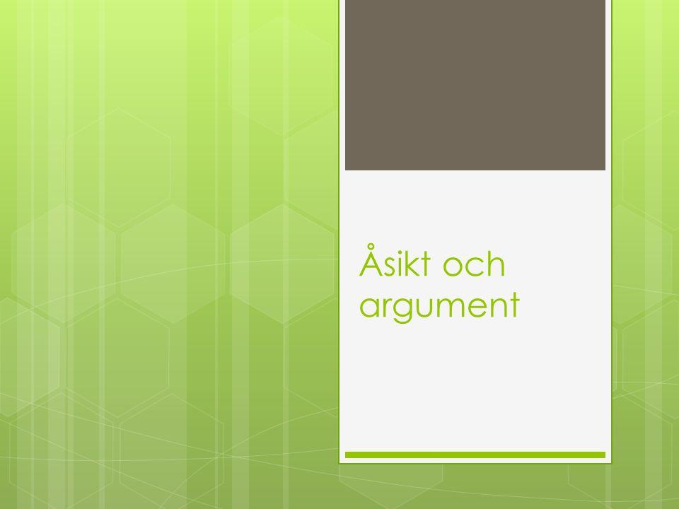Åsikt och argument