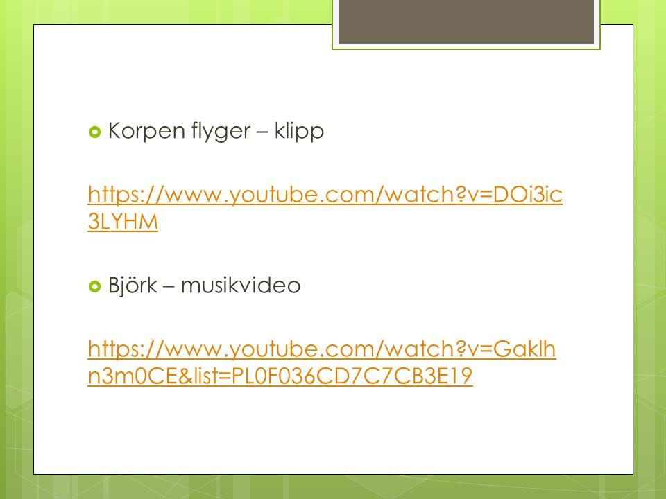 Korpen flyger – klipp https://www.youtube.com/watch v=DOi3ic3LYHM. Björk – musikvideo.