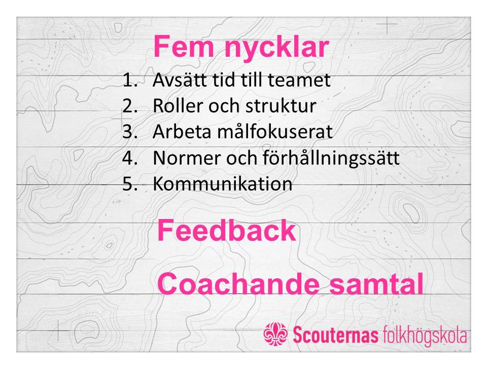 Fem nycklar Feedback Coachande samtal Avsätt tid till teamet