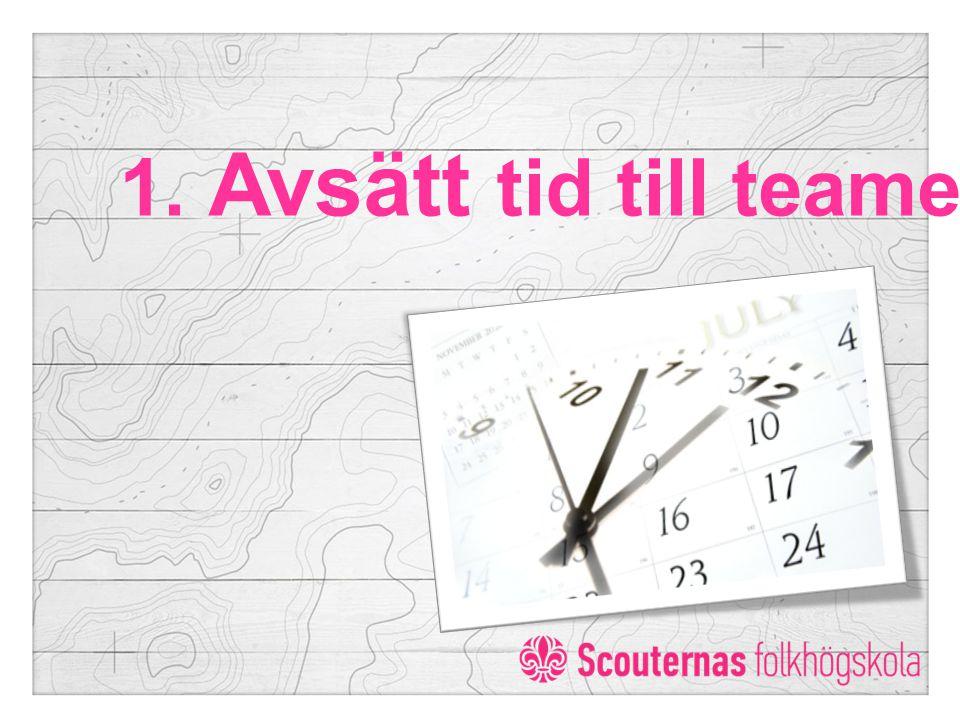 1. Avsätt tid till teamet