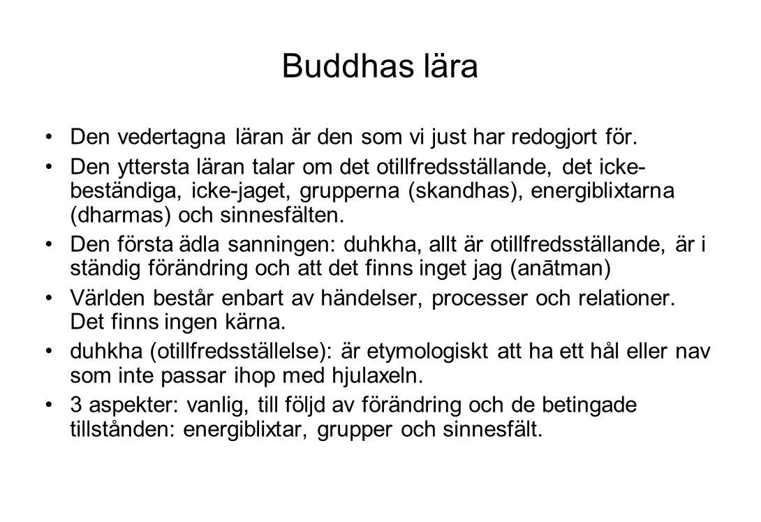 Buddhas lära Den vedertagna läran är den som vi just har redogjort för.