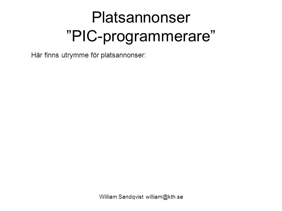 Platsannonser PIC-programmerare