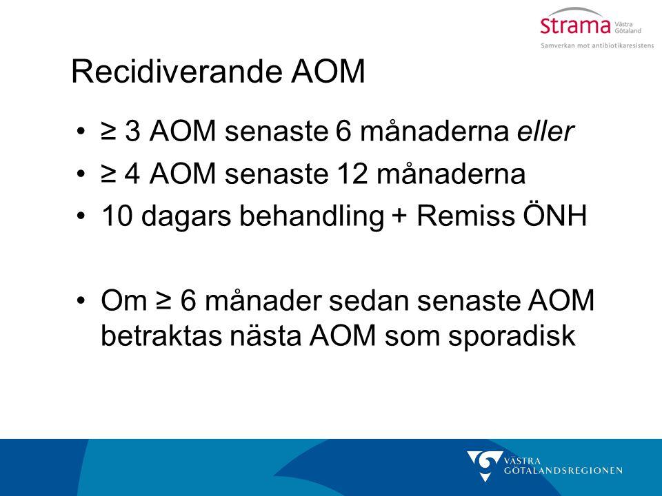 Recidiverande AOM ≥ 3 AOM senaste 6 månaderna eller