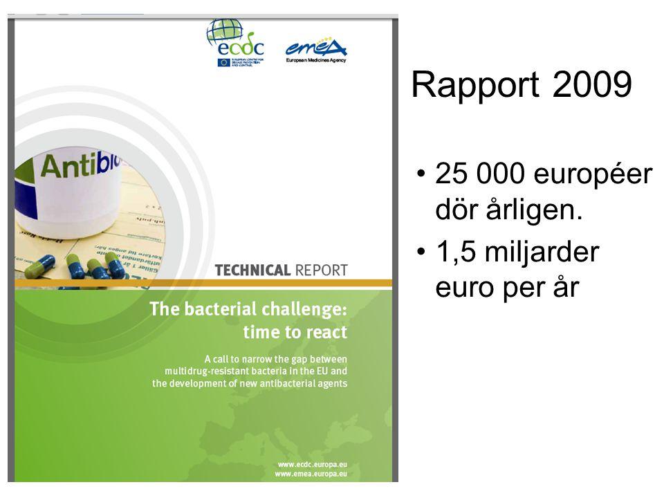 Rapport 2009 25 000 européer dör årligen. 1,5 miljarder euro per år