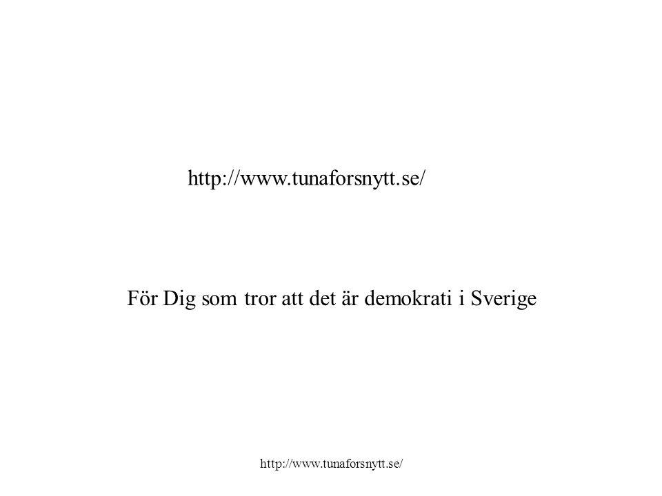 För Dig som tror att det är demokrati i Sverige