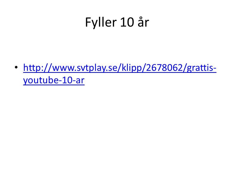 Fyller 10 år http://www.svtplay.se/klipp/2678062/grattis-youtube-10-ar