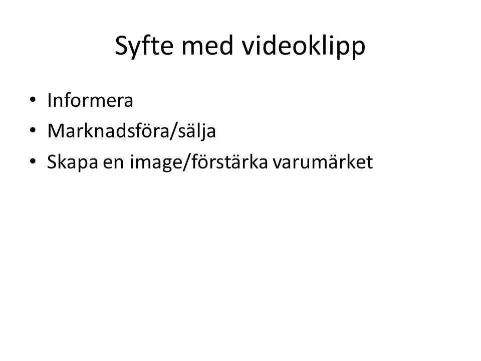Syfte med videoklipp Informera Marknadsföra/sälja