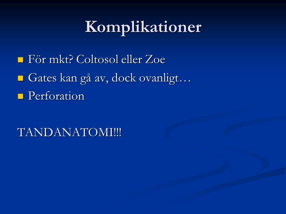 Komplikationer För mkt Coltosol eller Zoe