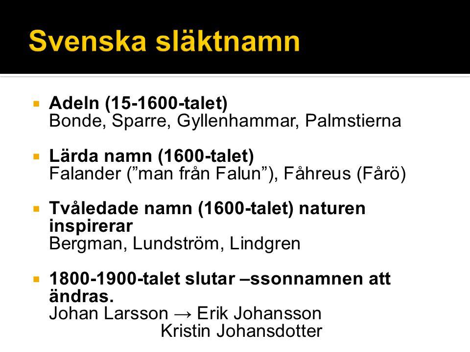 Svenska släktnamn Adeln (15-1600-talet)