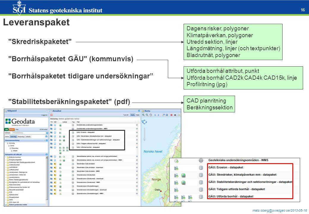 Leveranspaket Skredriskpaketet Borrhålspaketet GÄU (kommunvis)