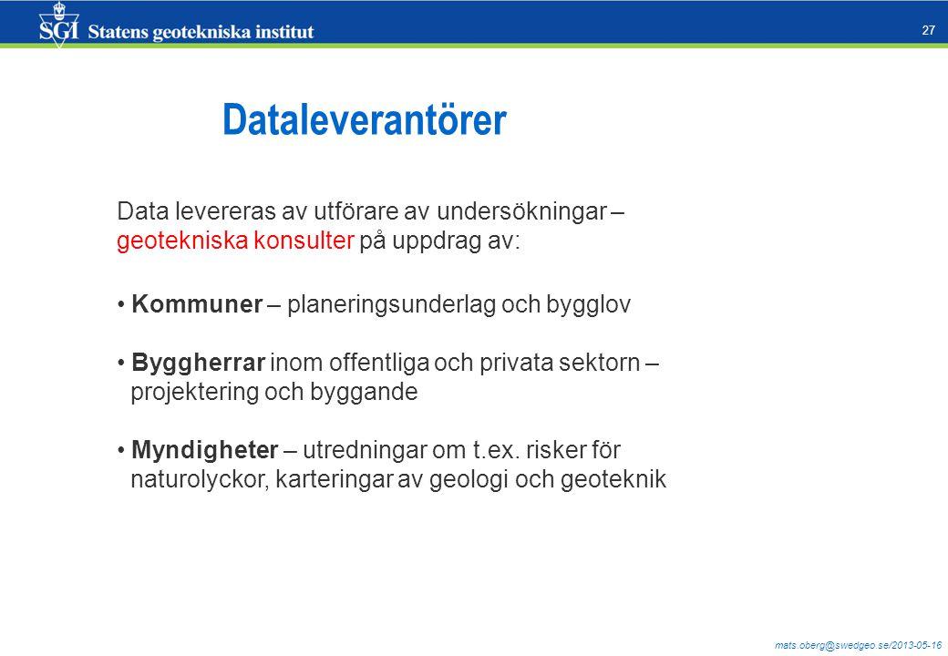 Dataleverantörer Data levereras av utförare av undersökningar –