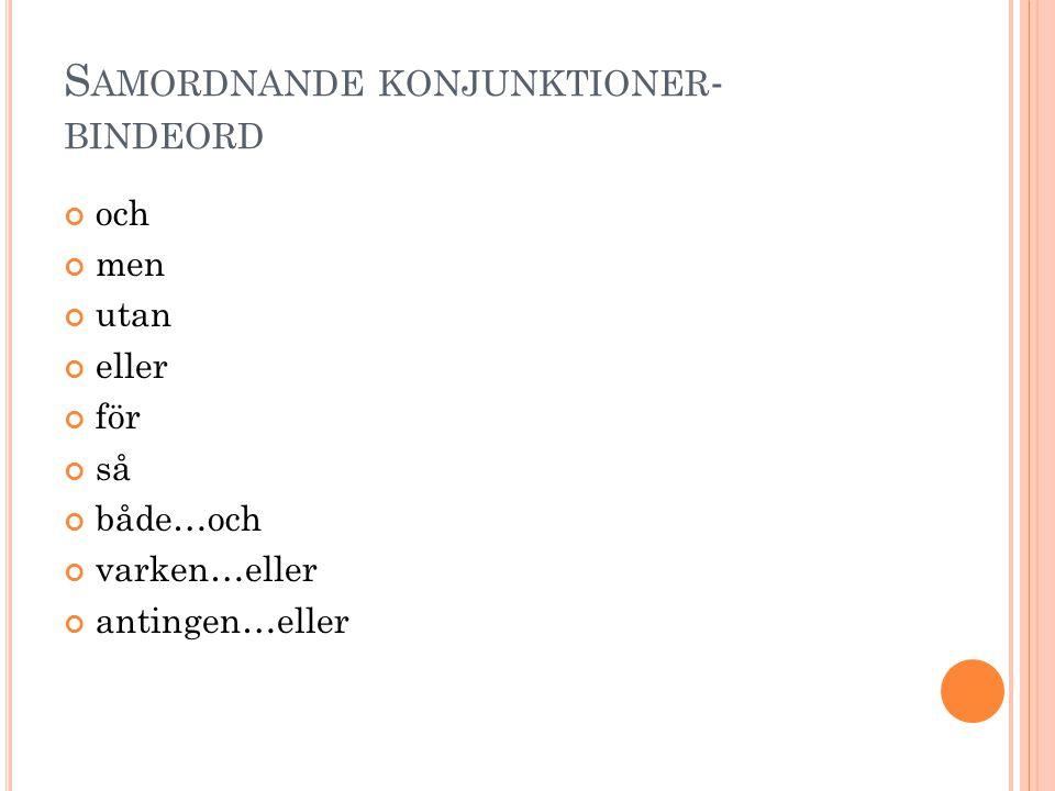 Samordnande konjunktioner-bindeord