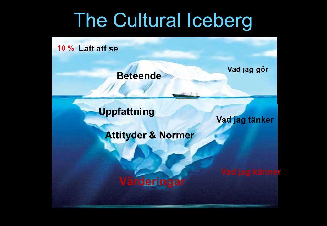 The Cultural Iceberg Värderingar Beteende Uppfattning