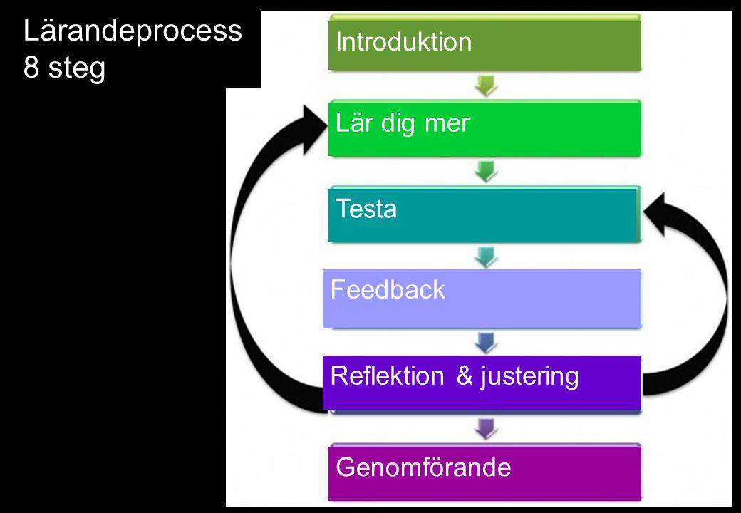 Lärandeprocess 8 steg Introduktion Lär dig mer Testa Feedback