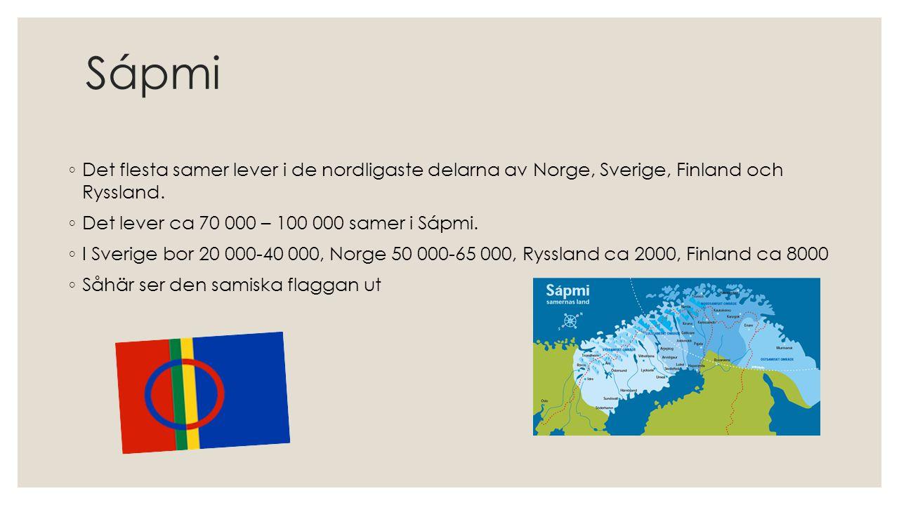 Sápmi Det flesta samer lever i de nordligaste delarna av Norge, Sverige, Finland och Ryssland. Det lever ca 70 000 – 100 000 samer i Sápmi.