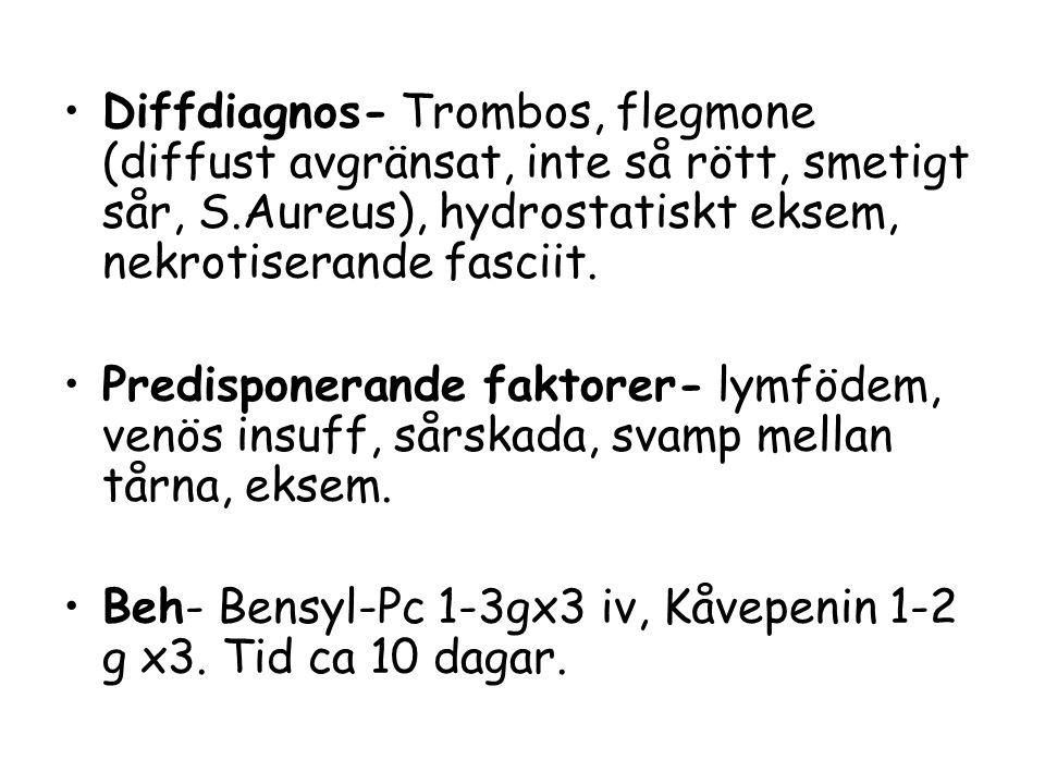 Diffdiagnos- Trombos, flegmone (diffust avgränsat, inte så rött, smetigt sår, S.Aureus), hydrostatiskt eksem, nekrotiserande fasciit.