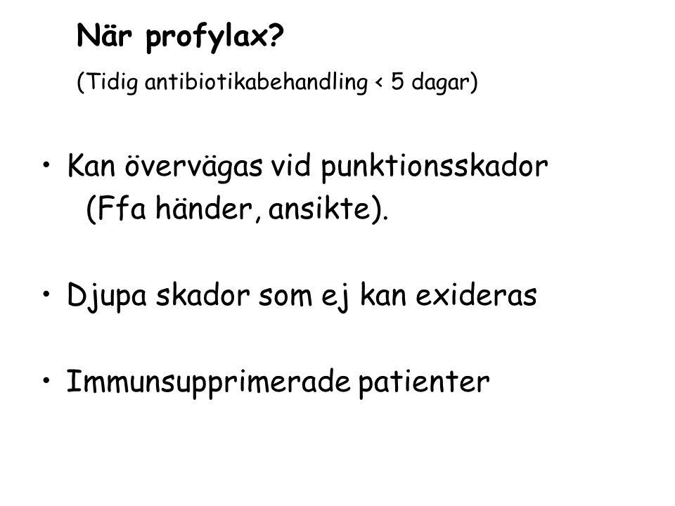 När profylax (Tidig antibiotikabehandling < 5 dagar) Kan övervägas vid punktionsskador. (Ffa händer, ansikte).