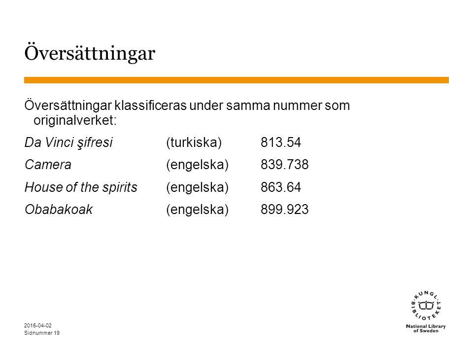 Översättningar Översättningar klassificeras under samma nummer som originalverket: Da Vinci şifresi (turkiska) 813.54.