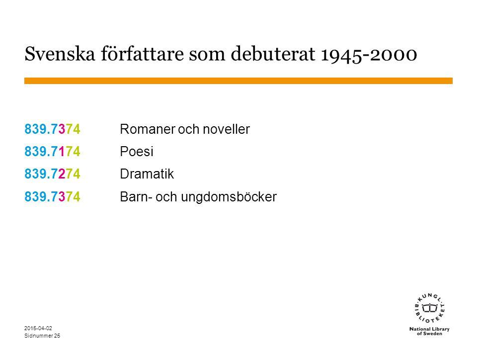Svenska författare som debuterat 1945-2000