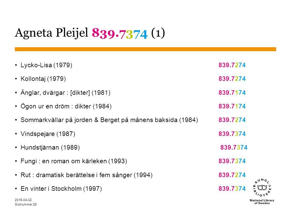 Agneta Pleijel 839.7374 (1) Lycko-Lisa (1979) 839.7274