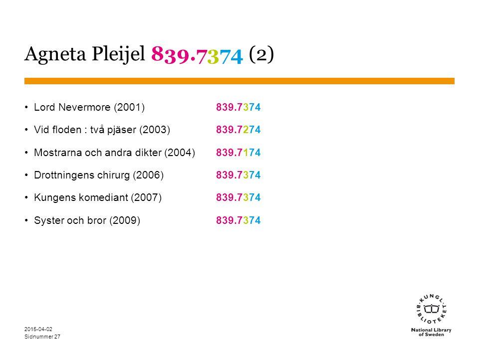 Agneta Pleijel 839.7374 (2) Lord Nevermore (2001) 839.7374