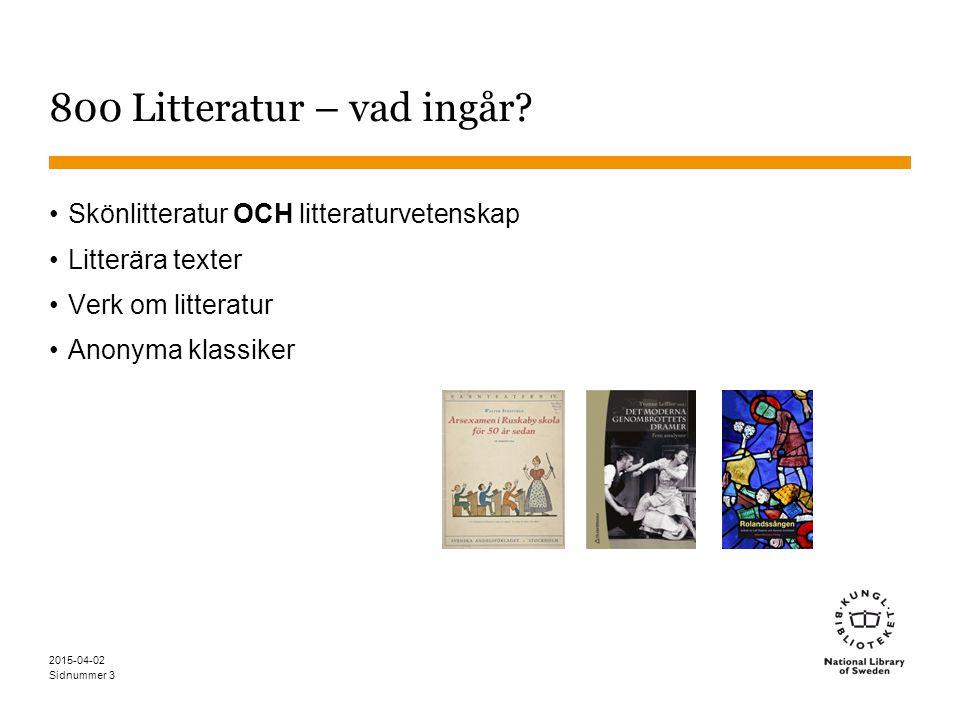 800 Litteratur – vad ingår Skönlitteratur OCH litteraturvetenskap
