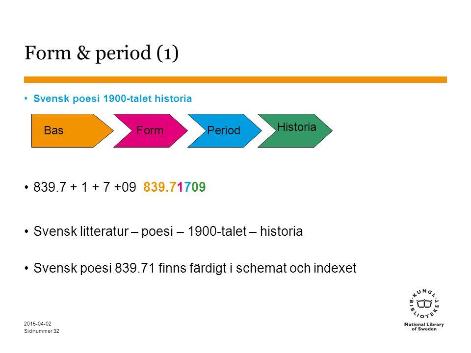 Form & period (1) Svensk poesi 1900-talet historia. 839.7 + 1 + 7 +09 839.71709. Svensk litteratur – poesi – 1900-talet – historia.