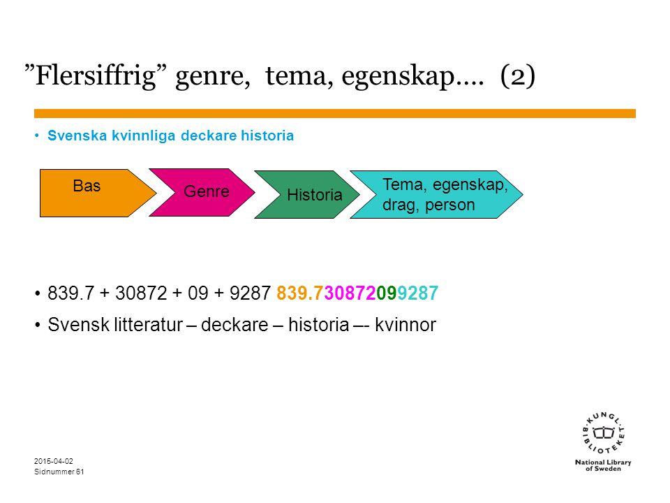 Flersiffrig genre, tema, egenskap…. (2)