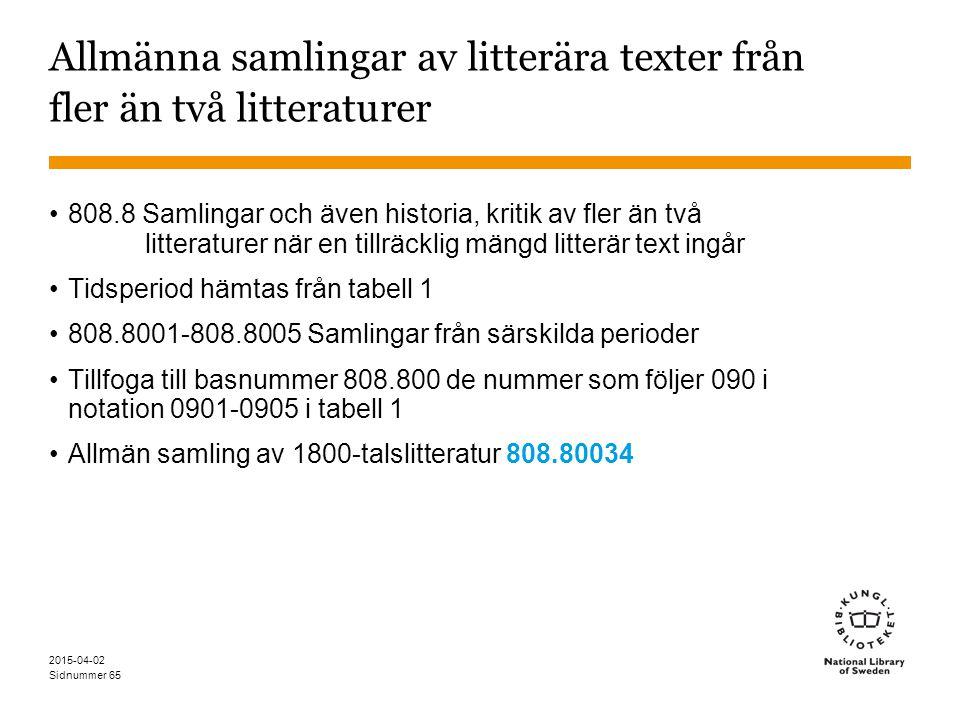 Allmänna samlingar av litterära texter från fler än två litteraturer