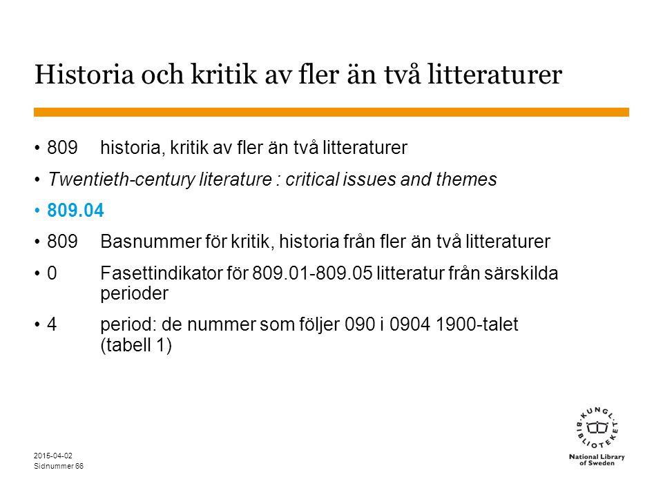 Historia och kritik av fler än två litteraturer