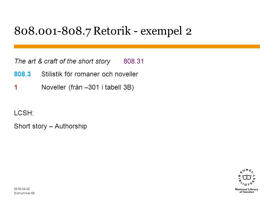 808.001-808.7 Retorik - exempel 2 The art & craft of the short story 808.31. 808.3 Stilistik för romaner och noveller.