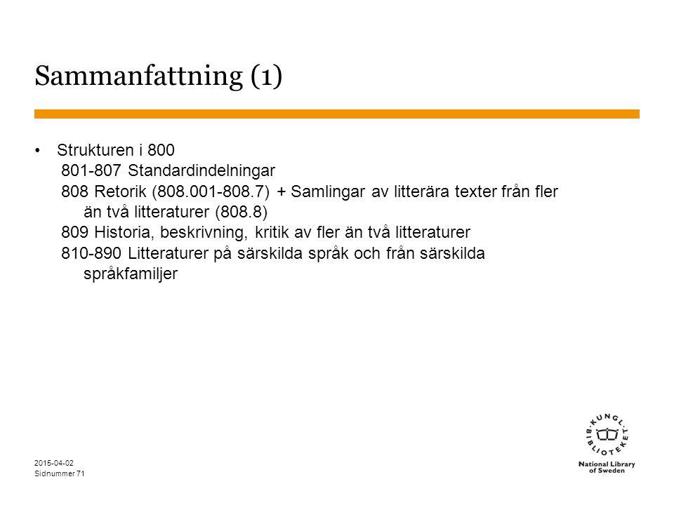 Sammanfattning (1) Strukturen i 800 801-807 Standardindelningar