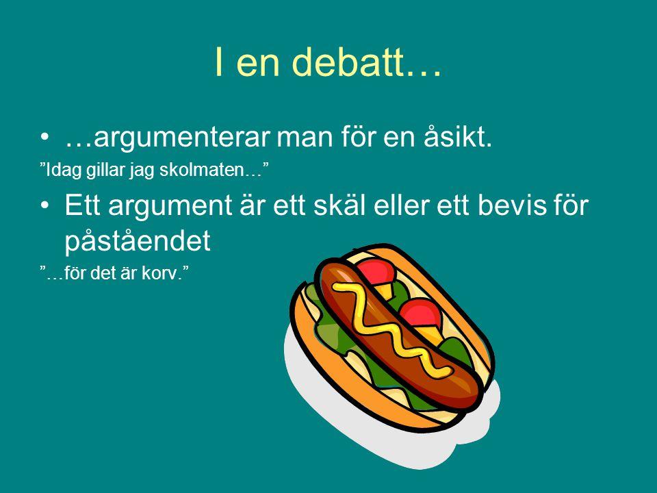 I en debatt… …argumenterar man för en åsikt.