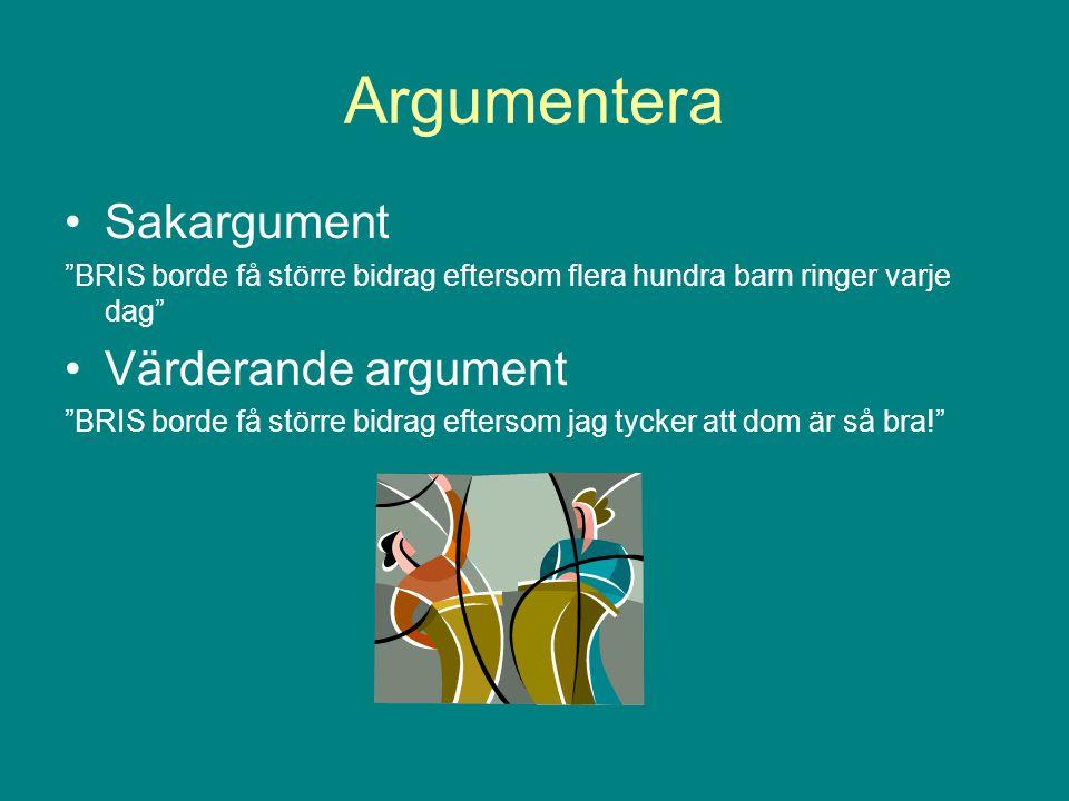 Argumentera Sakargument Värderande argument