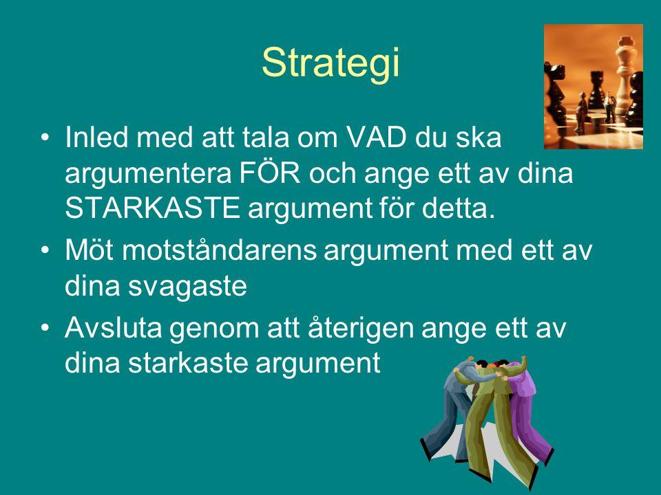 Strategi Inled med att tala om VAD du ska argumentera FÖR och ange ett av dina STARKASTE argument för detta.