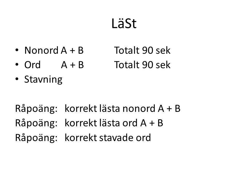 LäSt Nonord A + B Totalt 90 sek Ord A + B Totalt 90 sek Stavning