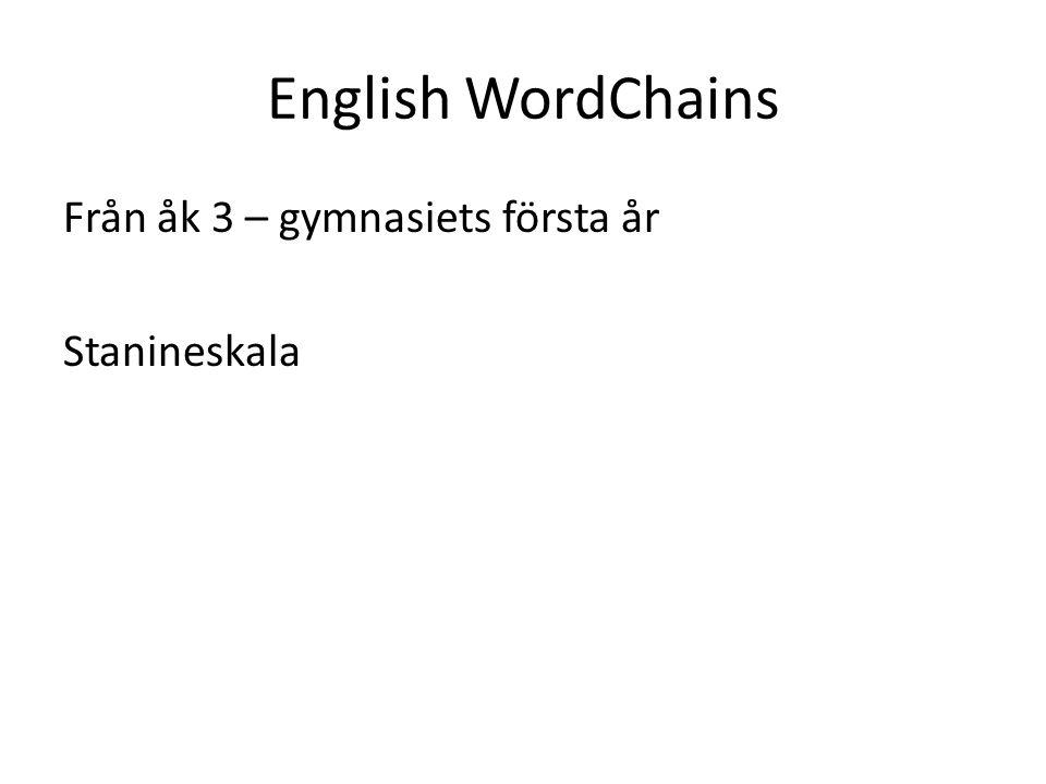 English WordChains Från åk 3 – gymnasiets första år Stanineskala
