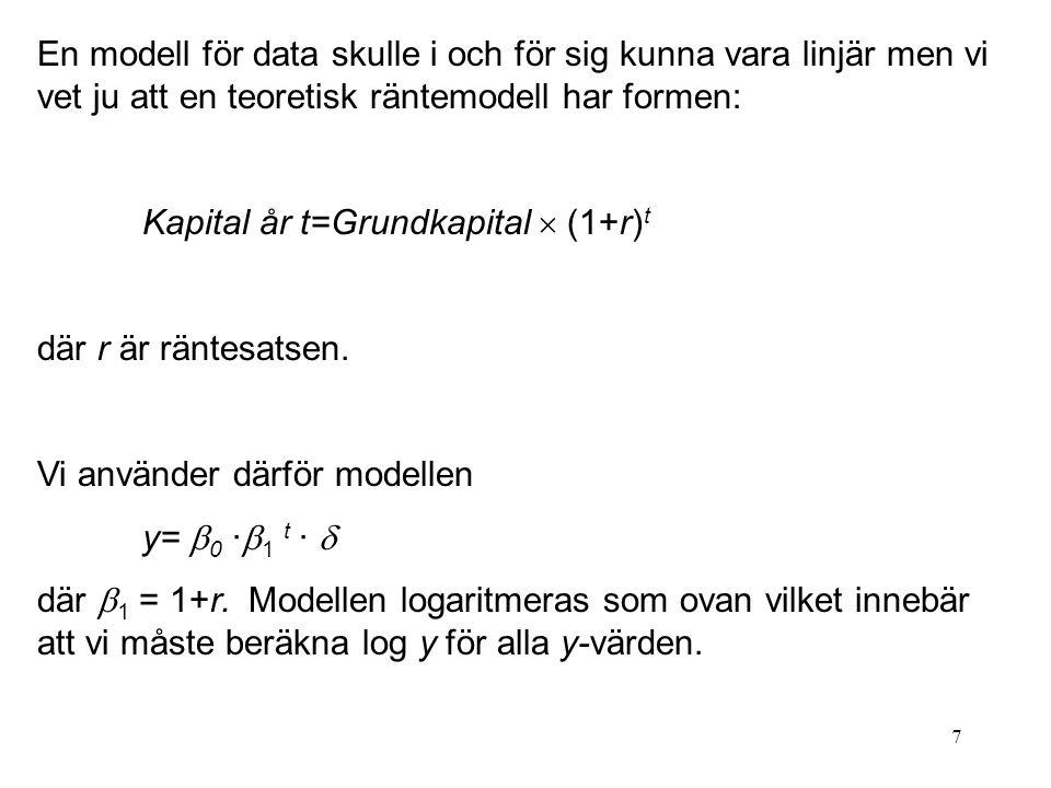 En modell för data skulle i och för sig kunna vara linjär men vi vet ju att en teoretisk räntemodell har formen: