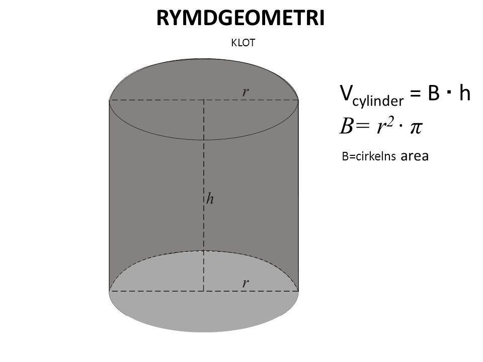 RYMDGEOMETRI KLOT Vcylinder = B · h B= r2 · π B=cirkelns area