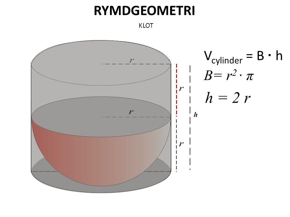 RYMDGEOMETRI KLOT Vcylinder = B · h B= r2 · π h = 2 r h