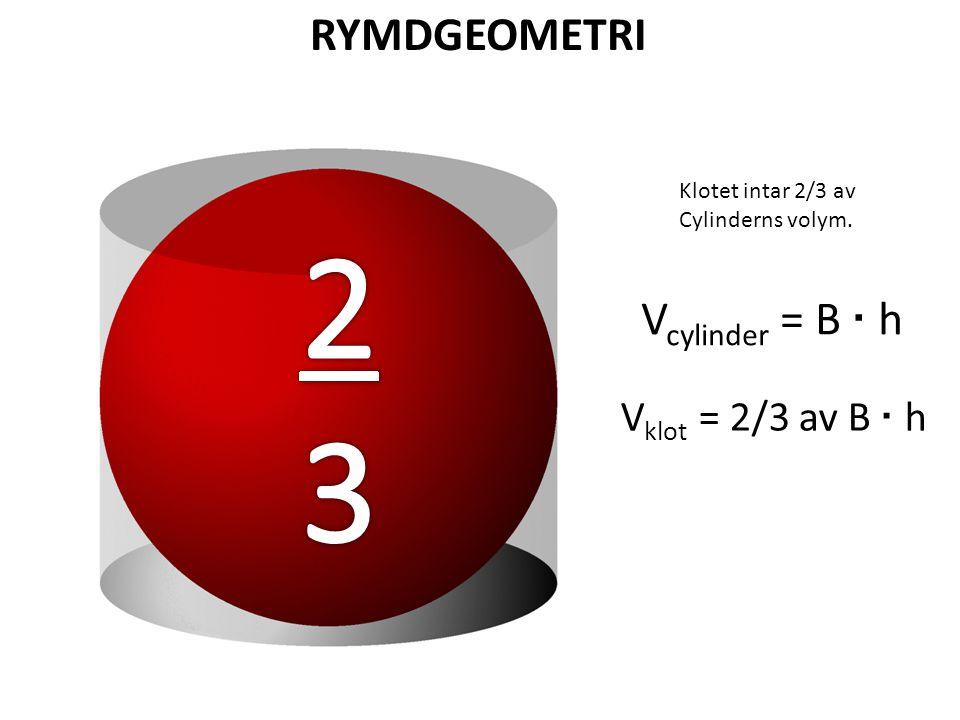 2 3 RYMDGEOMETRI Vcylinder = B · h Vklot = 2/3 av B · h