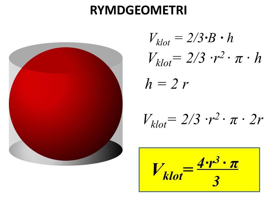 Vklot= Vklot= 2/3 ·r2 · π · h h = 2 r Vklot= 2/3 ·r2 · π · 2r 4·r3 · π